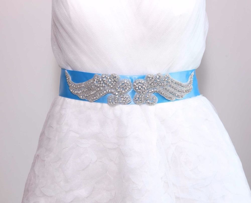 Bridal Wedding Beaded Applique Rhinestone Crystals Color Blue Satin Sash Belt