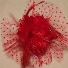 Red Veil Net Feather Rose Wedding Flower Girl Bride Hair Clip - CA