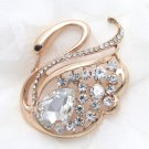 GOLD RHINESTONE CRYSTAL WEDDING BOUQUET CRAFT GOOSE BROOCH PIN