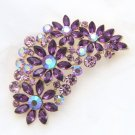 Flower Purple Rhinestone Crystal Golden Gold Brooch Pin Wedding Jewelry