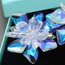 Glass Stone Crystal Aurora Clear Flower Wedding Bridal Shoe Clips Pair