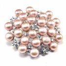 Pink Bouquet Freshwater Pearl Rhinestone Crystal Wedding Bridal Brooch Pin