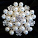 Cream Bouquet Freshwater Pearl Rhinestone Crystal Wedding Bridal Brooch Pin