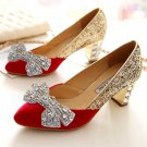 Sexy Glass Stone Crystal Gold Wedding Bridal Bow Butterfly Shoe Clips Pair
