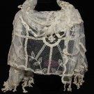 Vintage Beige Ivory Crochet Leaf Lace Crochet Long Tassel Wrap Stole Scarf