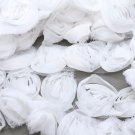 3D Chiffon White Rose Flower Net Lace Fabric Trim 1 Yard 2 inch Width