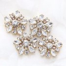 Lot of 4 Gold Flower Wedding Rhinestone Crystal Shank Buttons DIY