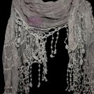 Dark Grey Floral Flower Embroidery Lace Stole Short Tassel Scarf