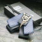 Vintage Black Blue Ribbon Wedding Groom Mens Adjustable Bow Tie Brooch Clip