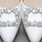 Vintage Glass Crystal Silver Wedding Bridal Shoe Clips Detach Decoration Pair