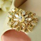 Marquise Gold Rhinestone Crystal Champagne Wedding Bridal Shoe Clips Pair