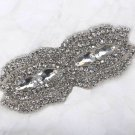 Bridal Wedding Beaded Rhinestone Crystal Sash Dress Belt Sew on Applique