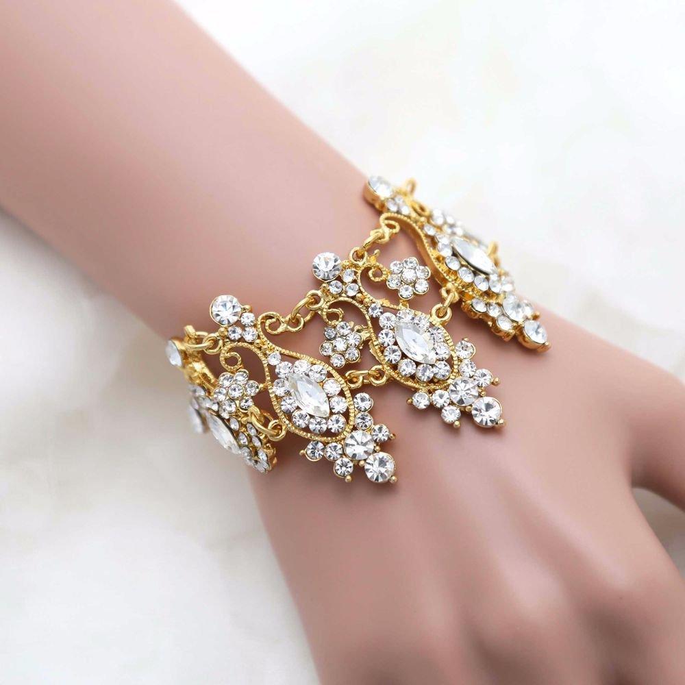 Rhinestone Crystal Gold Victorian Style Wedding Bridal Bride Chain Bracelet