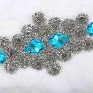 Bridal Wedding Beads Blue Teardrop Rhinestone Crystal Iron Sew on Applique