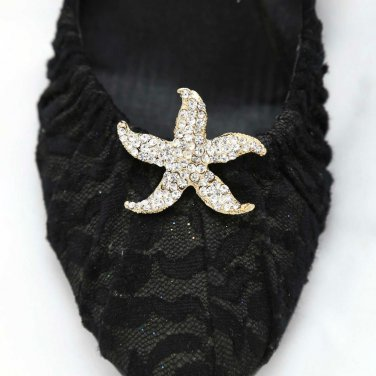 A pair Of Silver Rhinestone Crystal Wedding Starfish Sea Star Shoe Clips - CA