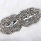 Bridal Wedding DIY Belt Marquise Rhinestone Crystal Beaded Sew on Applique