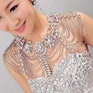 Bridal Wedding Jewelry Crystal Rhinestone Shoulder Strap Epaulet Necklace -CA