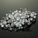 Wedding Bridal Rhinestone Crystal Glass Oval Dress Sash Corsage Brooch Pin