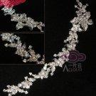 "Long Flowers Leaves Rhinestone Crystal Wedding Bridal Chain 9"" Long"