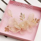 Wedding Bridal Champagne Gold Flower Faux Pearl Leaf Hair Birdcage Veil Clip