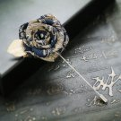 Rose Flower Wedding Groom Mens Fibre Ribbon Corsage Brooch Label Pin Boutonniere