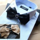 Mens Black Or Gold Pre Tired Self Bow Tie Adjustable Polyester Rhinestone Bowtie