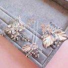 Wedding Champagne Silver Leaf Flower Rhinestone Crystal Hair Comb And Pin Stick