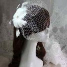 WEDDING WHITE PEACOCK FEATHER FASCINATING HAIR CLIP BRIDCAGE VEIL HEADPIECE