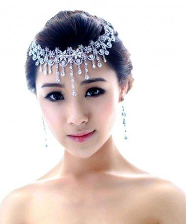 Wedding Bridal Rhinestone Crystal Hair Chain Tiara Headpiece With Earrings