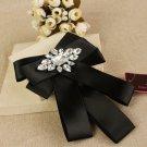 Acrylic Crystal Black Ribbon Wedding Men Pre Tied Bow Tie Brooch Pin Clip