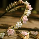 Wedding Bridal Gold Leaves Pink Rose Faux Pearl Headband With Butterfly Earrings