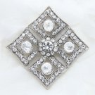 Vintage Style Bridal Wedding Sqaure Rhombus Rhinestone Crystal Brooch Pin -CA