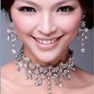 Wedding Bridal Rhinestone Crystal Dangle Choker Necklace With Earrings -CA