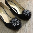 Sparkling Beads Wedding Bridal Black Tone Fur Shoe Clips Charm Pair