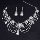 Bridal Wedding Victorian Art Deco Rhinestone Crystal Earrings Necklace Set -CA