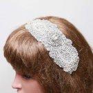 Bridal Wedding Rhinestone Crystal Beaded Applique Hair Comb Clip Ribbon Headband