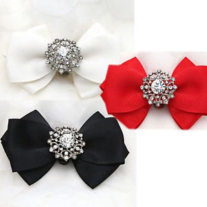 1 pair Vintage Black Red Ivory Colored Bow Crystal Wedding Bridal Shoe Clips