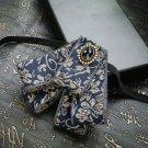Vintage Black Gold Ribbon Wedding Groom Mens Adjustable Bow Tie Brooch Clip