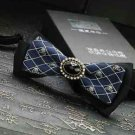 Men's Groom Christmas Party Black and Blue Skull and Crossbones Bow Tie Necktie