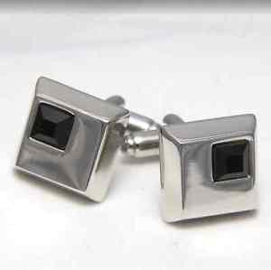 Black Crystal Groom Men White Platinum Plated Fasten Cuff Links Cufflinks