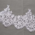 Bridal Wedding Off White Silver Sequin Embroidered Lace Trim Veil trim Per Yard