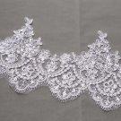 Bridal Wedding Off White Silver Sequin Embroidered Lace Trim Veil trim Per Yard