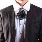 Black Rococo Men Groom Knot Wedding Party Bow Necktie Neck Tie Pin