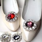 A Pair Red Purple Black Color Oval Rhinestone Crystal Wedding Bridal Shoe Clips