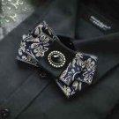 Men's Dark Blue Vintage Novelty Mens Tuxedo Adjustable Pre-tied Bow Tie Bowtie
