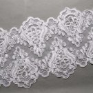 Bridal Wedding Off White Embroidered Lace Beaded Pearl Sequin Trim Per 1/2 Yard