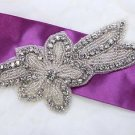 "5.2"" Star Flower Leaf Rhinestone Crystal Beaded Wedding Bridal Dress Applique"