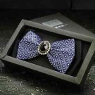 Wedding Party Men's Adjustable Bow Tie Pre-Tied Blue Checks Rhinestone Necktie