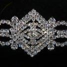 Vintage Style Clear Rhinestone Crystal Wedding Silver Tone Sash Belt Brooch Pin