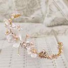 Wedding Bridal Flower Gold Pearl Crystal Tiara Headpiece Hair Accessories